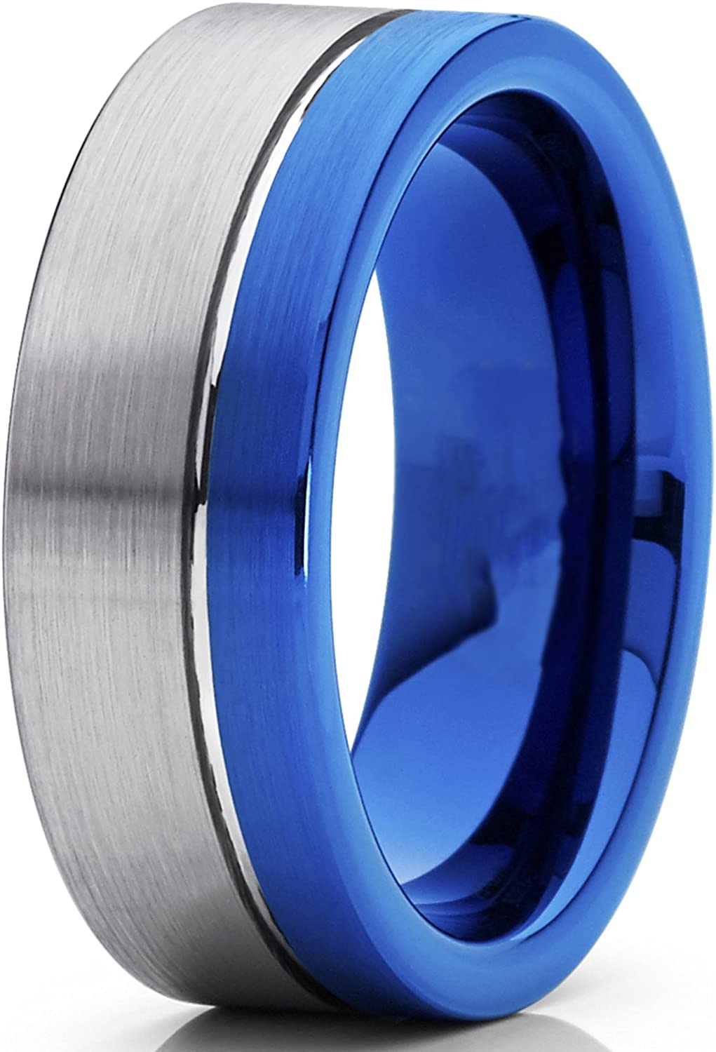 8MM Mens Off-Center Blue Pipe Cut Tungsten Carbide Wedding Band Engagement Ring Comfort Fit 7 to 15