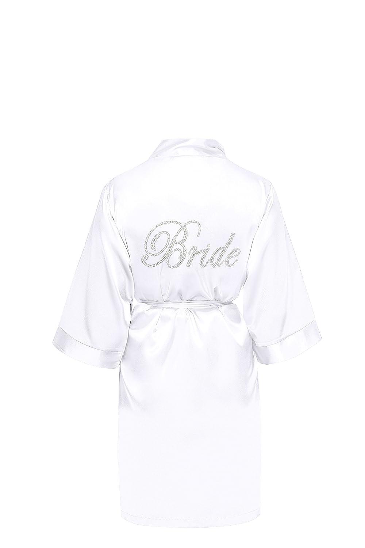 Braut Bride Brautjungfern Hochzeit Morgenmantel Bademantel Kimono Satin kurz Brautteam Bedruckt Druck Steine