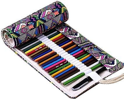 48 slot matita Wrap Tinksky Tela colorata matita matita caso 48 Roll Wrap per Set di matite colorate