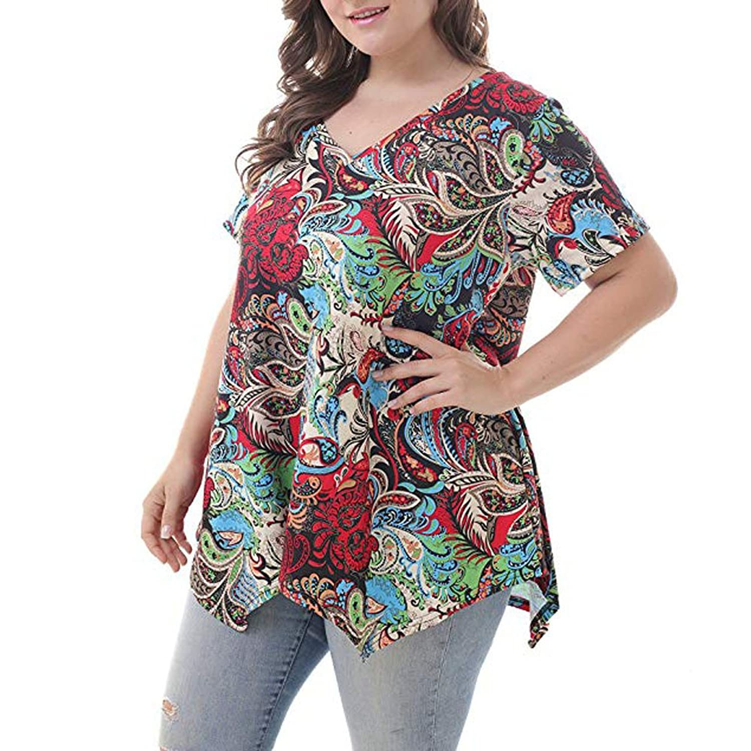 ZHANGVIP Women Floral Printed V Neck Short Sleeves Loose Tunic Tops T-Shirt Blouses at Amazon Womens Clothing store: