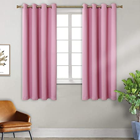Pink Blackout Curtains for Bedroom Thermal Insulated Eyelet Super Soft  Draperies Room darkening Window Treatment Curtain for Livingroom,2  panels,W46 X ...
