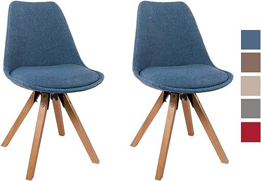 Chaise Salle à Manger Lot de 2 en Tissu Bleu Design Retro