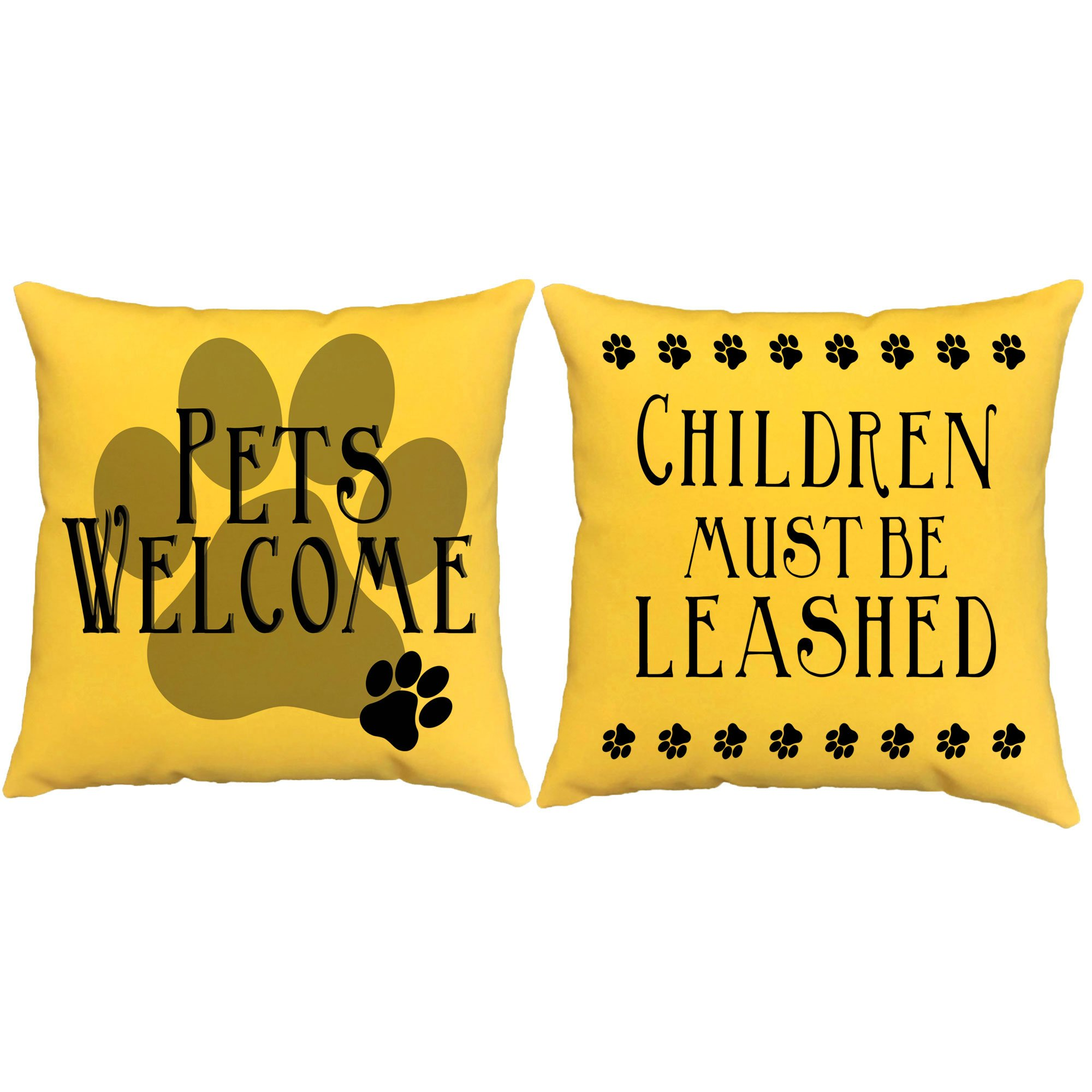 Set of 2 RoomCraft Pets Welcome Children Must Be Leashed Throw Pillows 20x20 Square Yellow Indoor-Outdoor Cushions