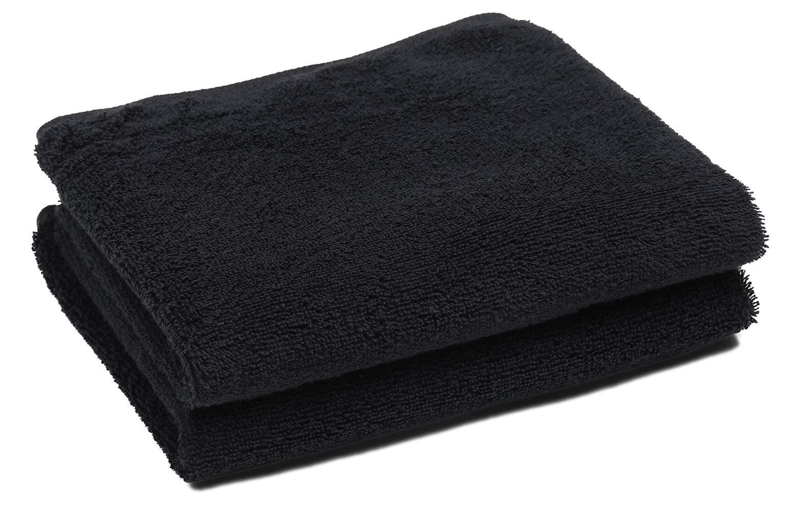 PERFEHAIR Black Salon Towels (2-Pack, 16 X 27 Inches)-Barber Hand Cotton Towel for Gym, Bath, Spa, Shaving, Shampoo by PERFEHAIR