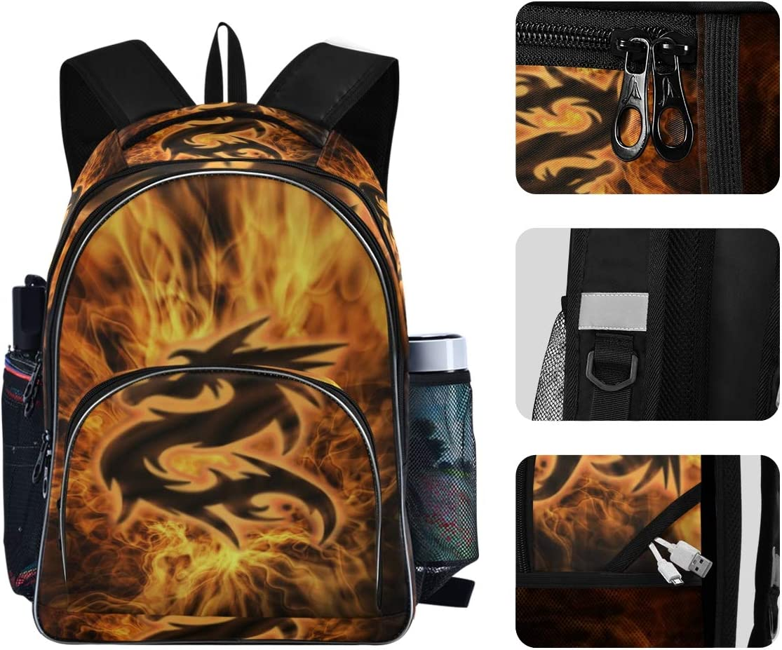 Kids Backpack Dragon Fire Three Layer Arc Bookbag for Boys Girls Elementary School Casual Travel Bag Laptop Daypack