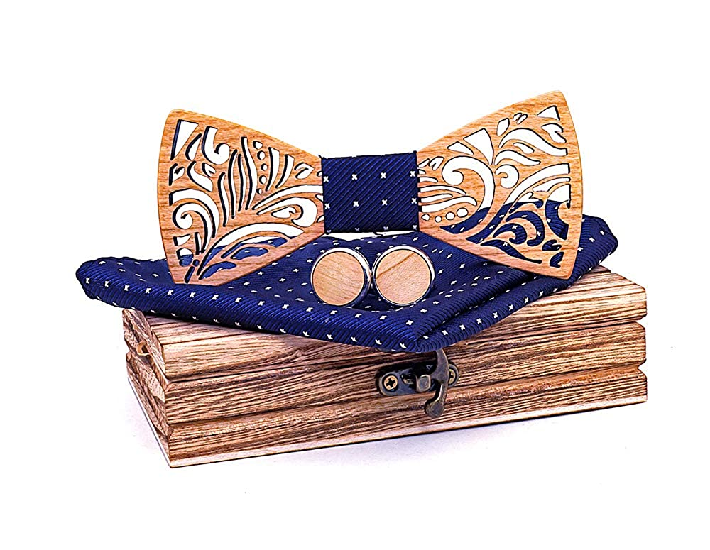 TORMROAD Handmade Carving Hollow Out Wooden BowTie Necktie with Matching Pocket Square Mens Cufflinks Set TZ025 TM