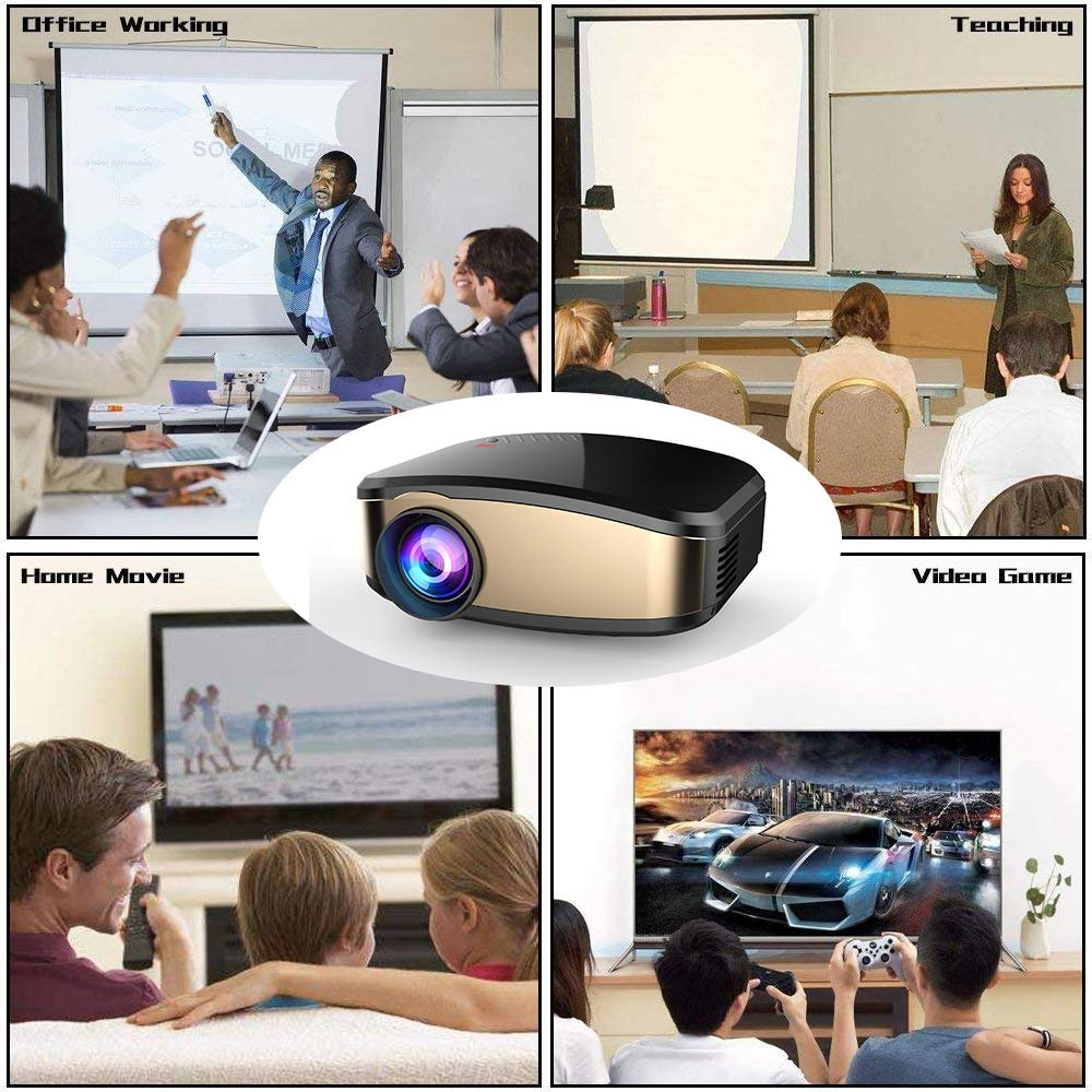 Projector DIWUER Wireless WiFi Projector (2018 Upgraded) Portable Video LED Projector Full HD 1080P Home Theater Projector Compatible with HDMI USB VGA AV Input for iPhone PC Laptop by DIWUER (Image #7)