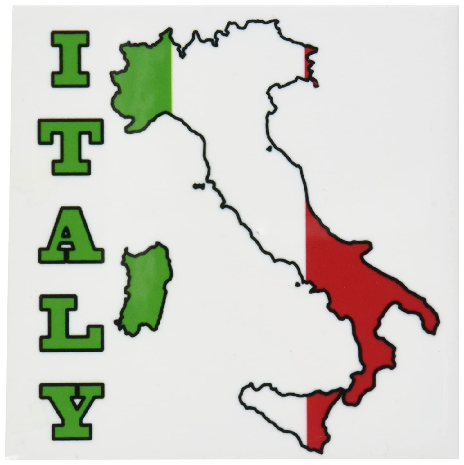 Italy Ceramic Tile Coasters Set of 4 3dRose cst/_63167/_3 The Flag of Italy in The Outline Map of The Country and Name