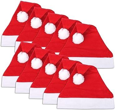 Schramm® 10 pzs. Gorras de Navidad 30x41cm Gorra de Papá Noel Gorra de Papá Noel 10-Pack: Amazon.es: Juguetes y juegos