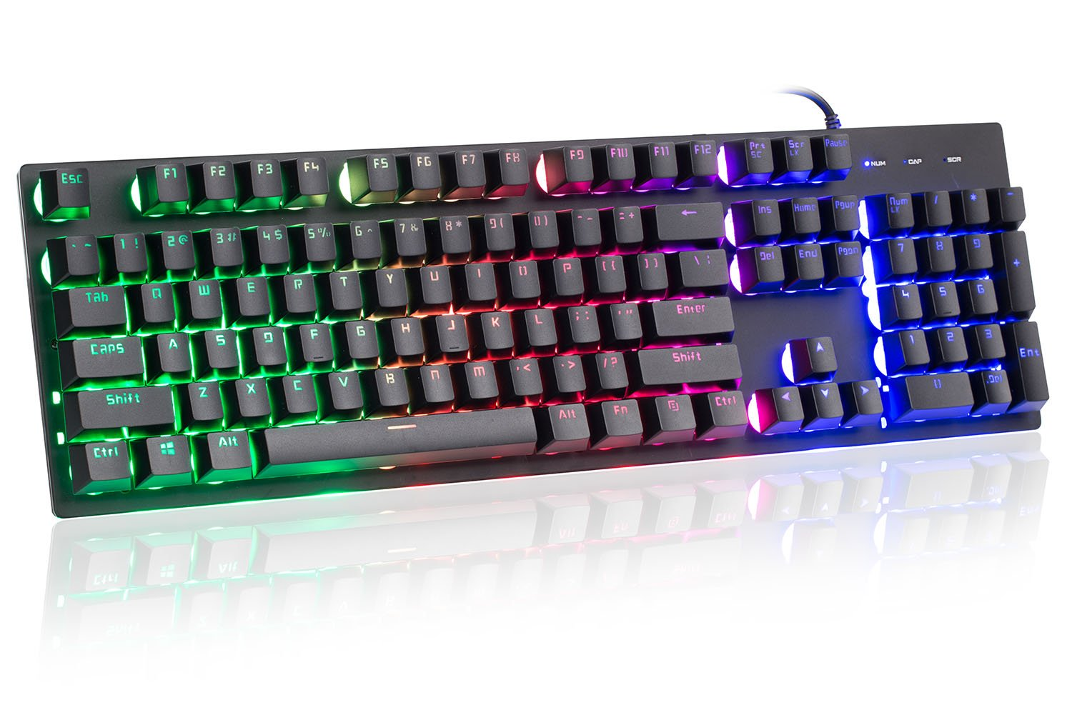 Wired Gaming Keyboard with RGB Rainbow LED Backlit, Mechanical Feeling with Multimedia keys, Waterproof and Llluminated Wired USB Keyboard for Windows 2000/XP/VISTA/7/8/10 & Linux - Black