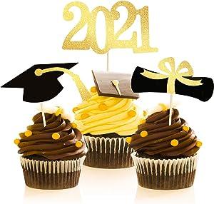 2021 Graduation Cupcake Toppers, 48 PCS Food Appetizer Picks For Graduation Party Mini Cake Decorations, Grad Cap Set