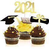 Graduation Cupcake Toppers 2021,48 PCS Graduation Decoration,Class of 2021 Food Appetizer Picks,Graduation Party Supplies Min
