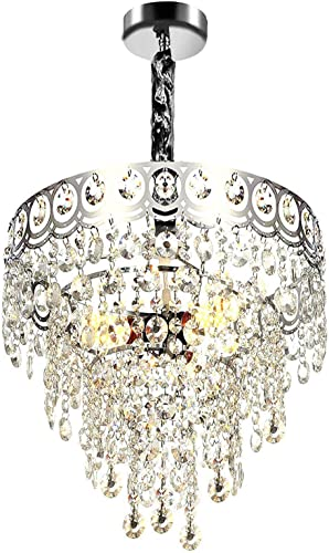 Modern Crystal Chandelier K9 Crystal Lighting Fixture Pendant Ceiling Chandelier for Dining Room Bedroom Living Room 3 E26 Bulbs D15.5 x H12 Clear Chrome