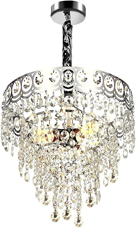 A1A9  Contemporary 4-Light Glass Crystal Chrome Finish Pendant Light Chandelier