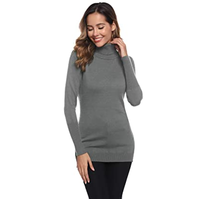 Abollria Women's Long Sleeve Solid Lightweight Tunic Knit Mock Turtleneck Pullover Sweater Tops at Amazon Women's Clothing store
