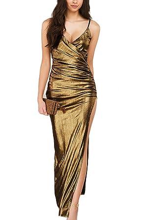 Jumojufol Womens Metallic Deep V-Neck Slit Ruched Spaghetti Straps Prom Dress - Gold -
