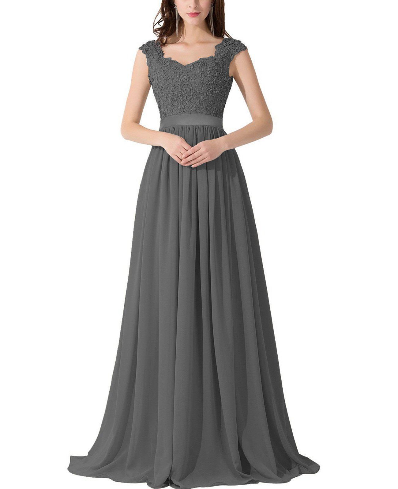 6ff80aa040a VaniaDress Women Applique Beading Long Evening Dress Formal Gowns V007LF Dark  Gray US14