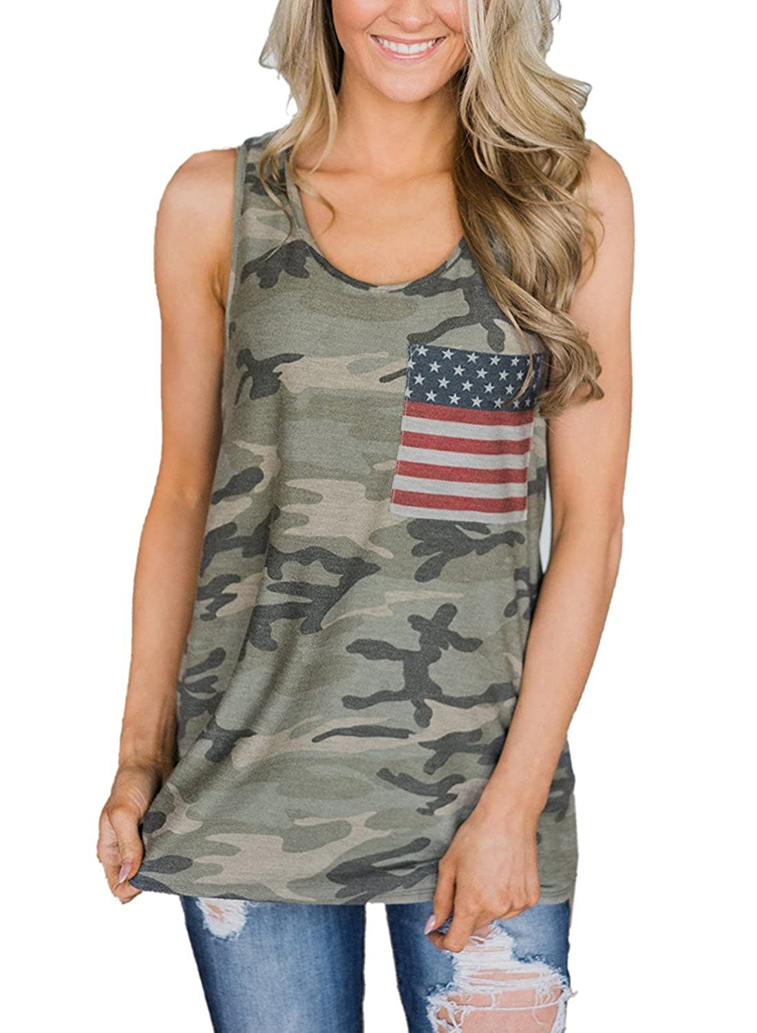 5d265b9e32cc4 AMiERY 4th of July Women's American Flag Camo Tank Tops Sleeveless Stripes  Patriotic T Shirts