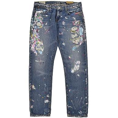a238cf91df17 RALPH LAUREN Women s Polo Slim Astor Boyfriend Paint Splatter Jeans ...