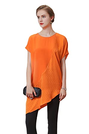 c17c5690be2816 Image Unavailable. Image not available for. Color  VOA Women s Silk Orange  Jacquard Splicing Scoop Neck Short Sleeve Tshirt Top B6582