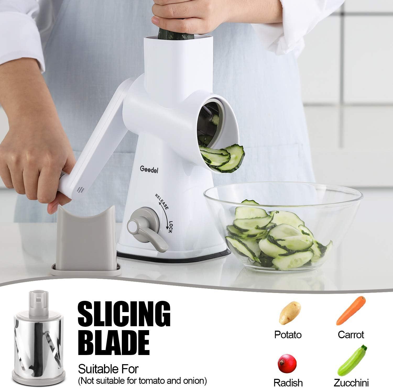 etc rebanador de verduras con 3 cuchillas de tambor desmontables Rallador de queso rotativo nueces apto para lavavajillas molinillo de queso eficiente para verduras