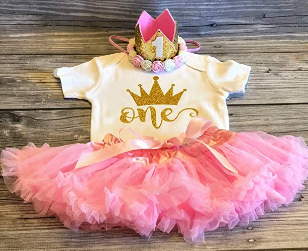 4e3c21a944 first birthday outfit - cake smash outfit - first birthday girl - 1st  birthday outfit - 1st birthday shirt - pink tutu skirt - petti skirt - pink  and gold ...