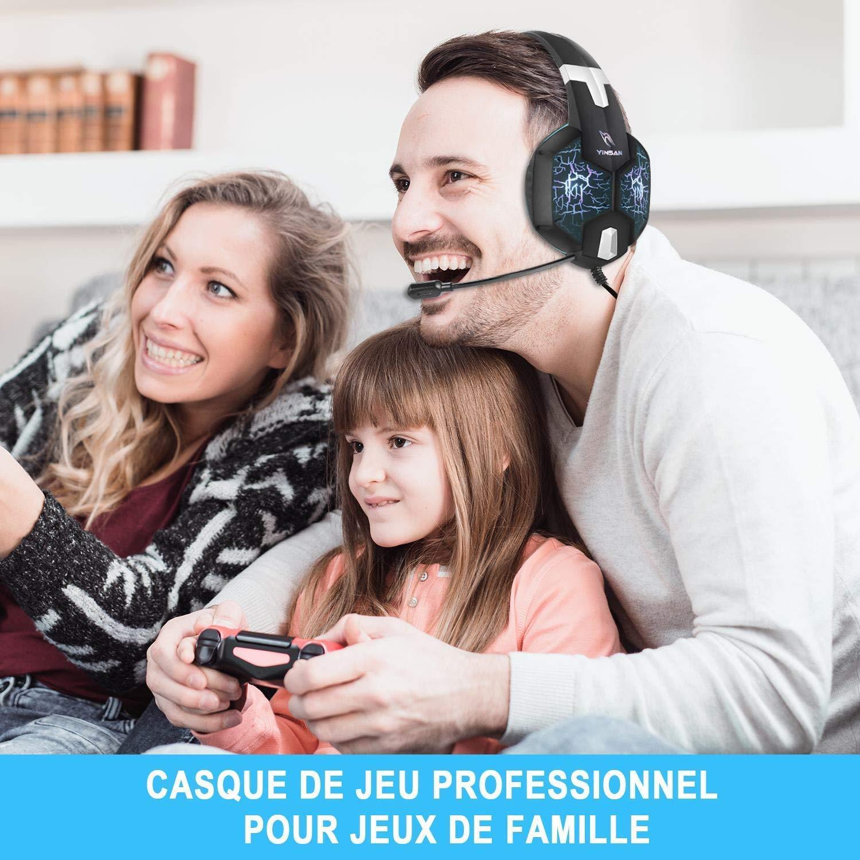 Casque Gaming PS4, YINSAN Casque Gamer Xbox One avec Micro Anti Bruit, Casque PC pour Stéréo Bass LED lumière avec 3.5mm Connecteur Compatible pour Xbox One / PC / Laptop / Tablette / Smartphone