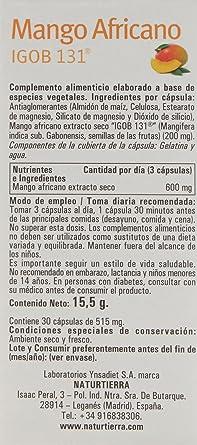 Naturtierra Mango Africano - 30 Cpsulas - [Pack de 2]: Amazon.es: Alimentación y bebidas