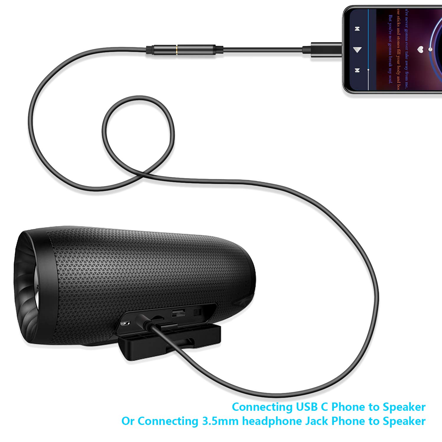 3-in-1 Type C to 3.5mm Audio Aux Jack Adapter, USB-C Male to 3.5mm Female Stereo Earphone Converter (Black)