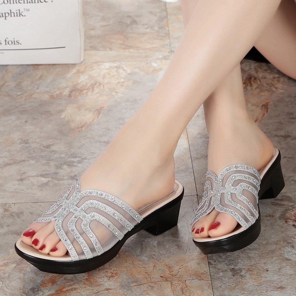 Btrada Women's Platform Wedge Sandals Summer Anti-Slip Thick B(M) Bottom Slides B07C98LN8C 7 B(M) Thick US|Silver da04e5