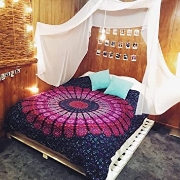 Textile Export Beautiful Indian Mandala Twin Hippie Bohemian Throw Cover Cotton Indian Bedspread Tapestry for Single Bed