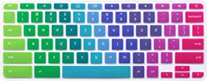 """Silicone Keyboard Cover for Acer Chromebook R 11 CB3-131 CB3-132, Acer Premium R11 11.6"""" Convertible 2-in-1 Chromebook, Acer Chromebook R 13 CB5-312T, Acer Chromebook 14, Acer Chromebook 15 (Rainbow)"""