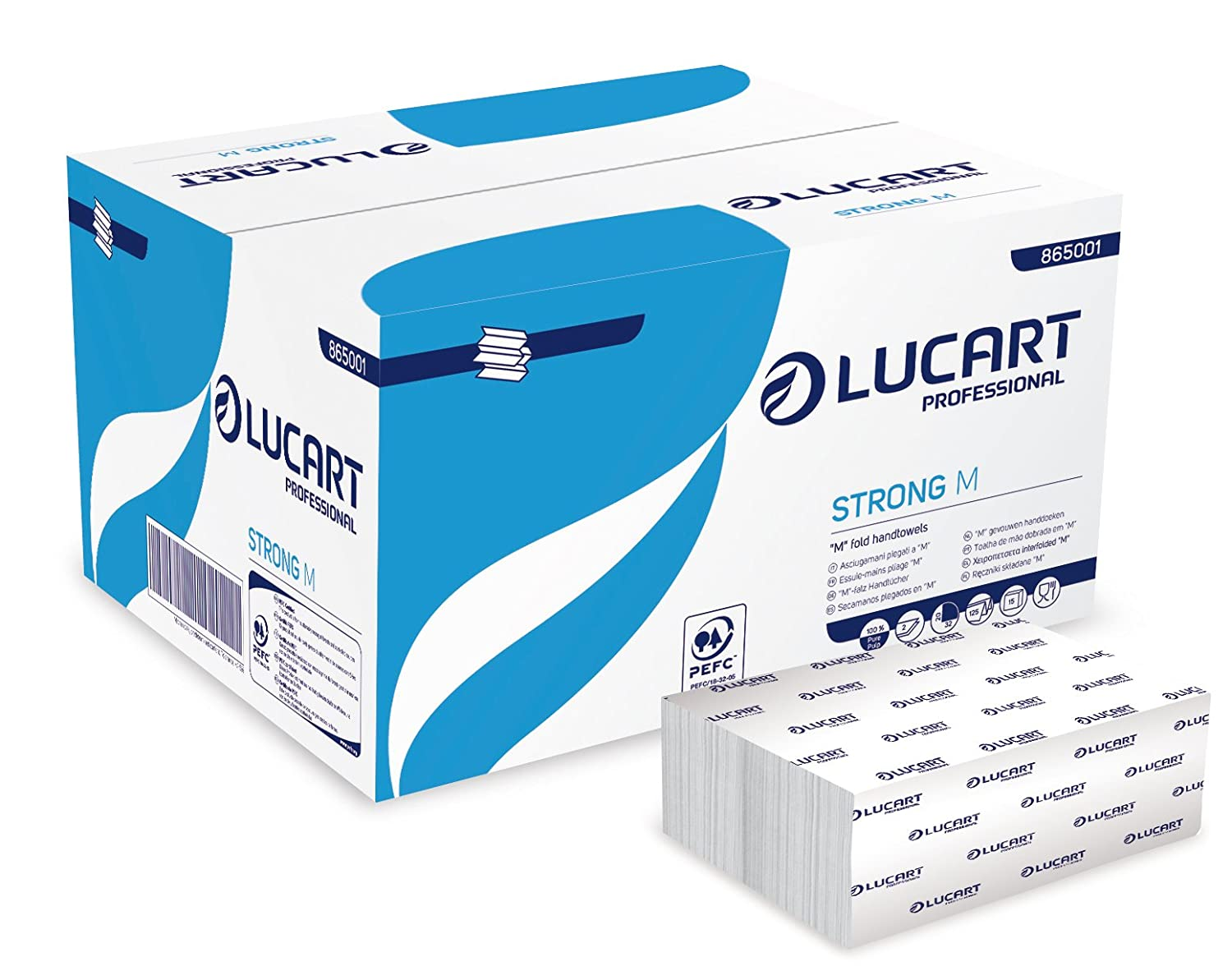 Lucart Professional 865001 Hand Towels, 125 M-Fold, Strong M (Pack of 1875) Novatissue SAS
