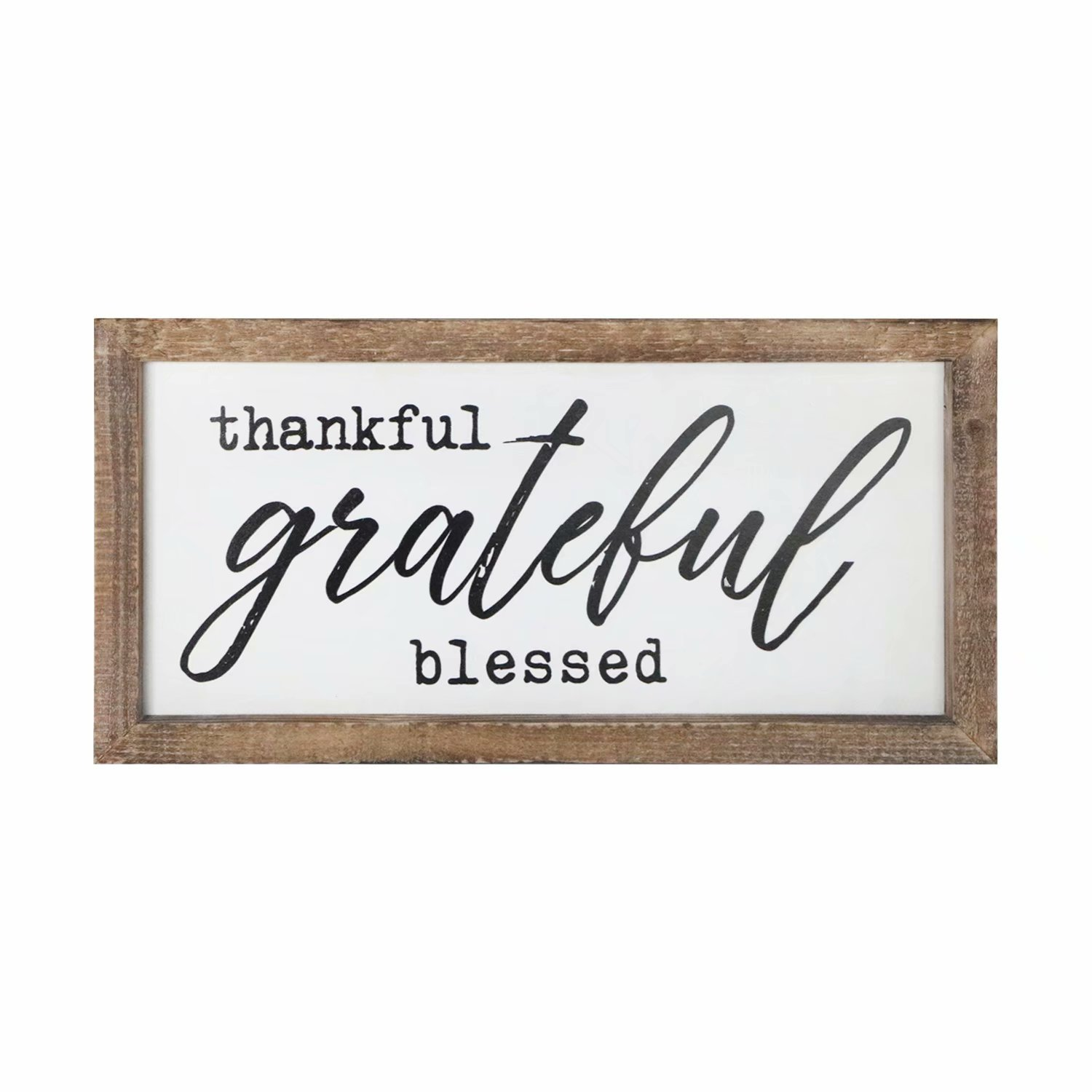 SANY DAYO HOME Wall Decor Signs with Inspirational Sayings 16 x 8 inches Rustic Wood Framed Modern Farmhouse Wall Hanging Art - Thankful Grateful Blessed