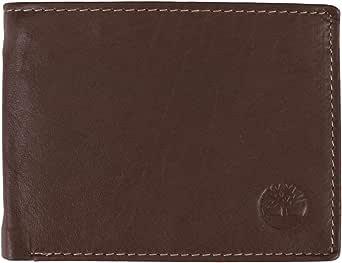Timberland Carteira masculina Wellington RFID de couro dobrável com três dobras híbrida
