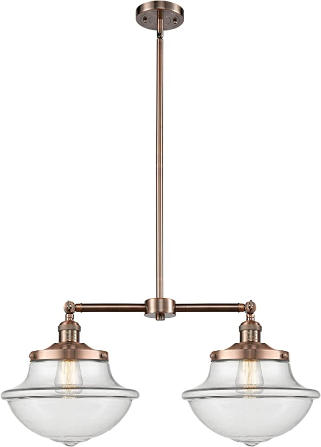 Innovations 209-AC-G54 2 Light Chandelier Antique Copper