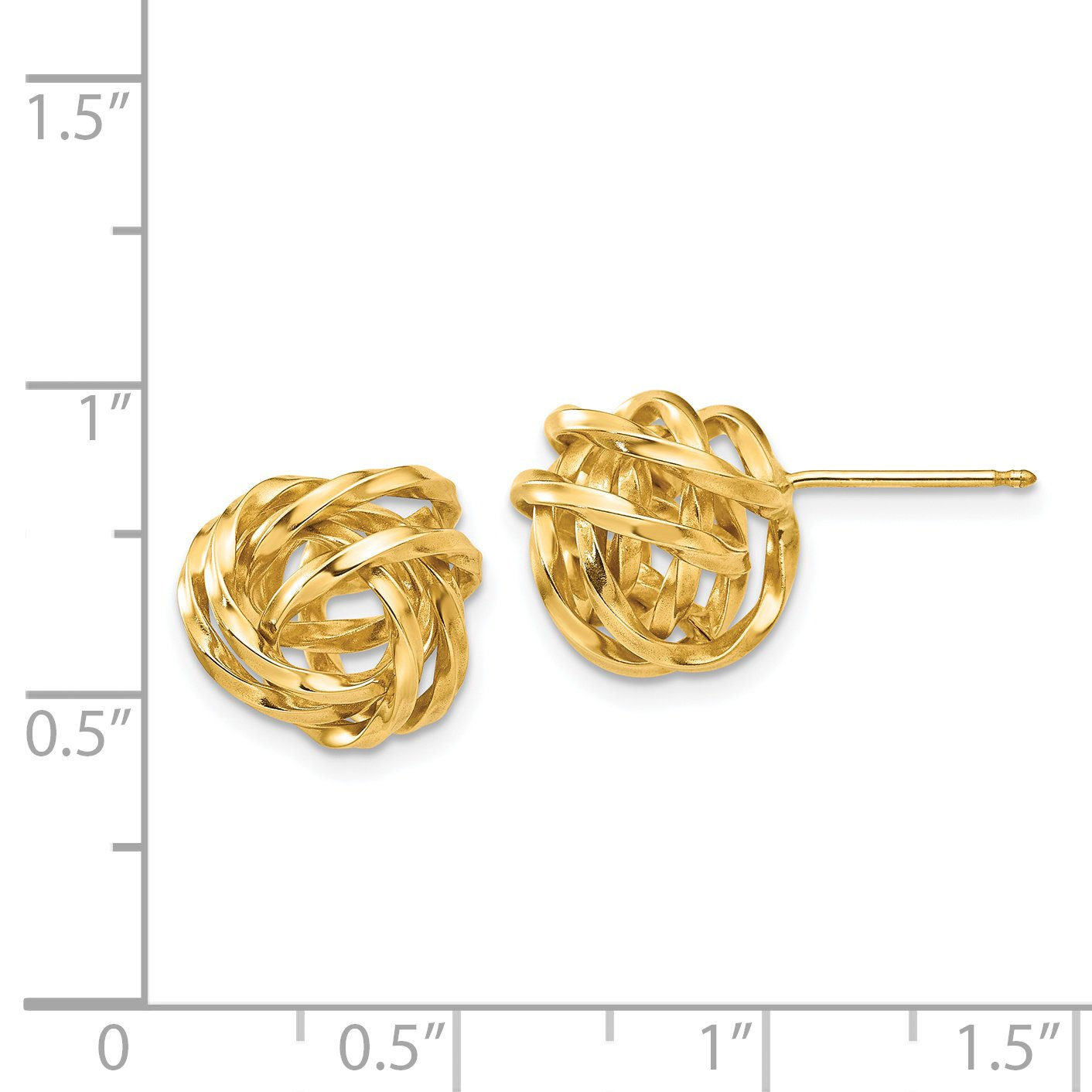 14k Yellow Gold Polished Love Knot Post Earrings (0.4IN x 0.4IN ) by Jewelry Pot (Image #2)