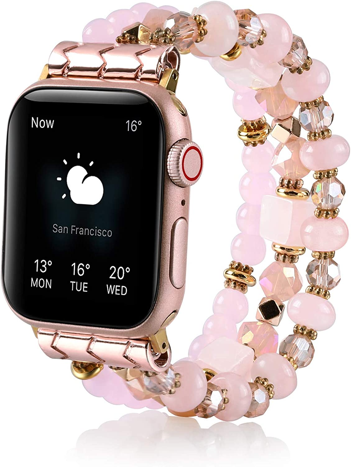 TINOBAND Compatible with Apple Watch Bands 44mm 42mm 40mm 38mm for Women, Healing Crystals Beaded Bracelet Elastic Apple Watch Strap Wristbands for iWatch SE Series 6 5 4 3 2 1