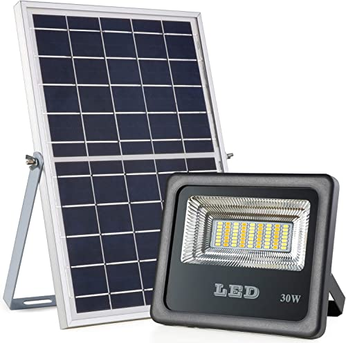 Solar Powered Flood Lights with RF Remote, Awanber 1100 Lumens High Brightness Dusk to Dawn IP66 Waterproof 3 Color Temperatures Outdoor Solar Security Flood Light for Street, Lawn, Garden, Farm, Park