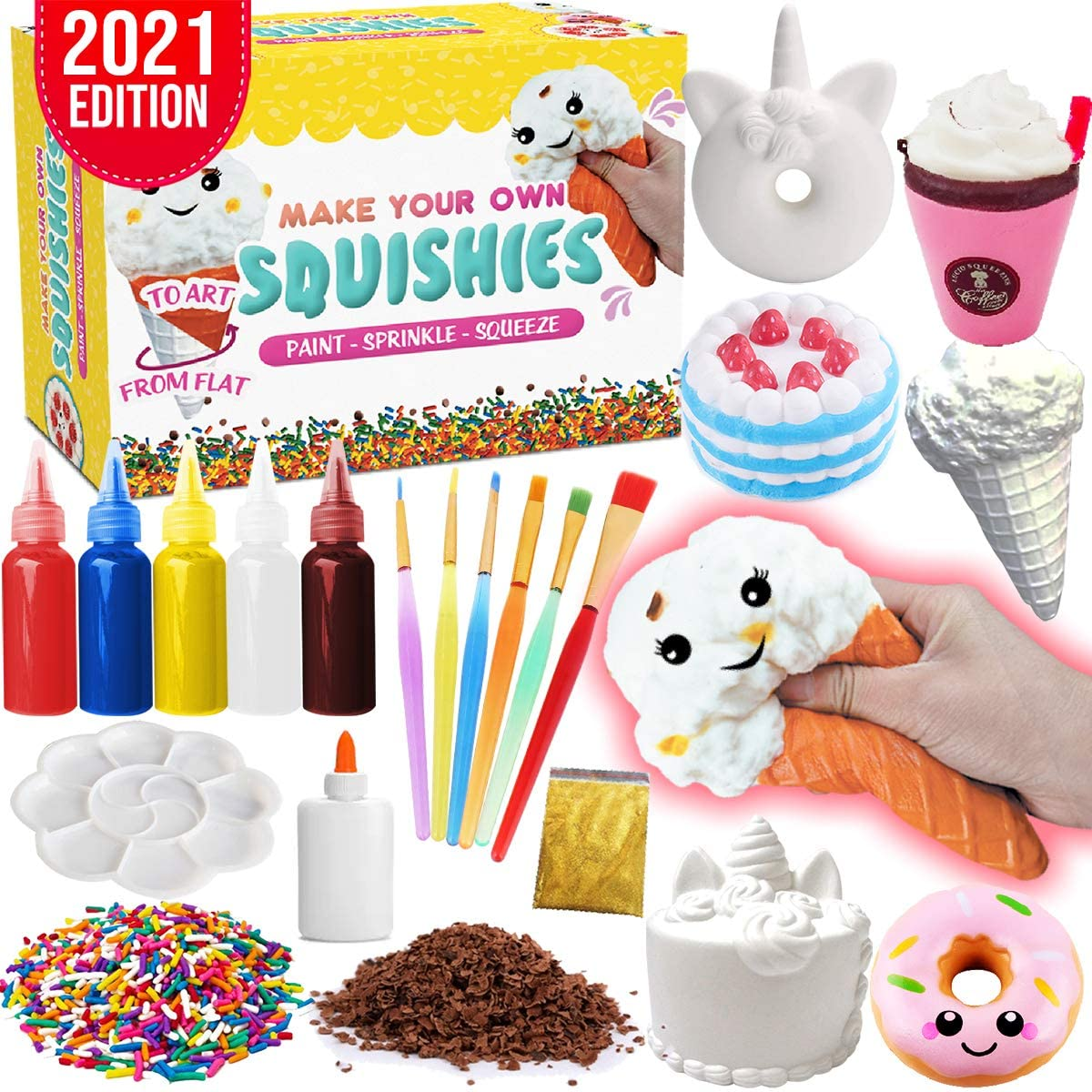 Insnug Sensory Toys Squishy Toy Food - Stress Relief Squishies for Girl Kids Age 4 6 8 10 Kawaii Jumbo DIY Slow Rising Squeeze Autism Toys Unicorn Gift Ice cream Cake Milk Shake Donut Painting Art Set