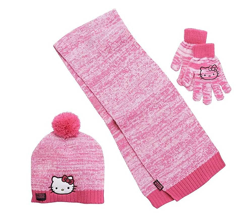 Girls Hot Pink Hello Kitty Knit Cold Winter Set-- Hat, Gloves, & Scarf SIL-34198