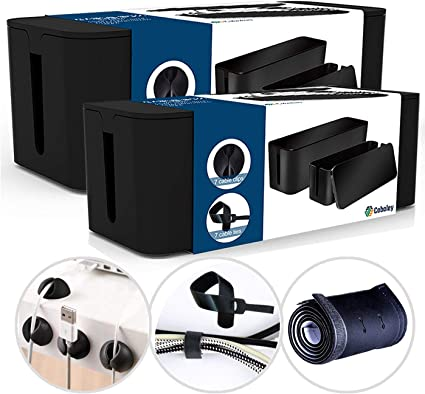 Cable Management Box Organizer Set Pack of 2 with Configuration Kit Clips and Sleeve Large and Medium White Boxes with Cable Ties Updated Anti-Skid Design Covers and Hides Cords//Wires//Power Strip