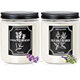 Candles for Home Scented, 2 Pack Lavender Candle Sea Salt & Sage Scented Candles 35-40 Hours Long Lasting Soy Candles Gifts f