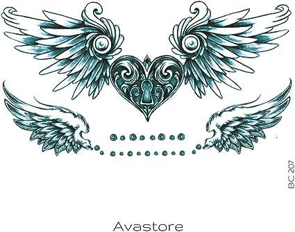 Tatuaje Temporal Corazón de alas de ángel avastore: Amazon.es: Belleza
