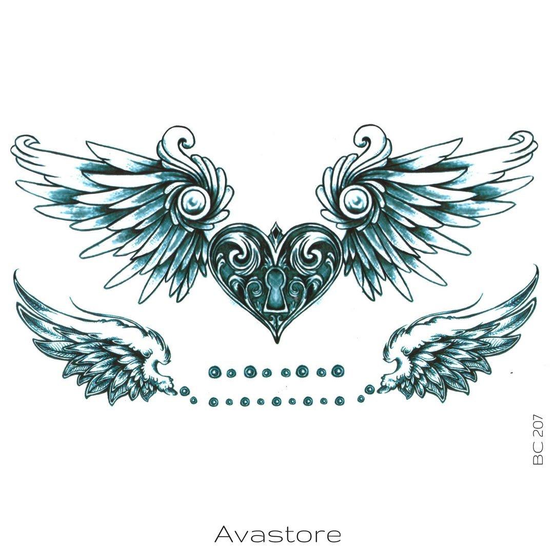 tatuaje efimero de corazón con alas y cerradura