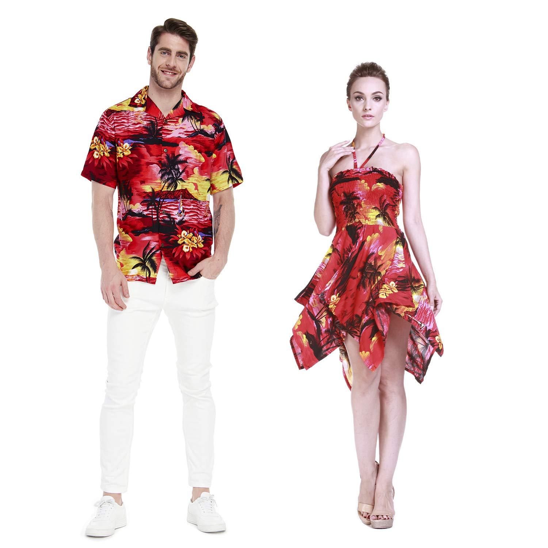 Pareja Hawaiano Combinación Luau Aloha Camisa y Vestido Gitano en ...