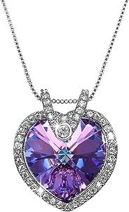 Aroncent Collar con Swarovski Cristal Cadena Ajustable de Cobre Colgante Púrpura Forma de Corazón Regalo Elegante para Mujer