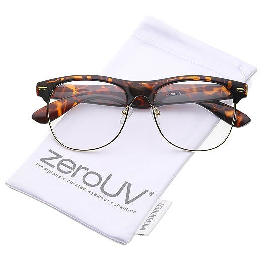 07da2274af Classic Horn Rimmed Clear Lens Half Frame Glasses 56mm (Tortoise-Gold Clear)
