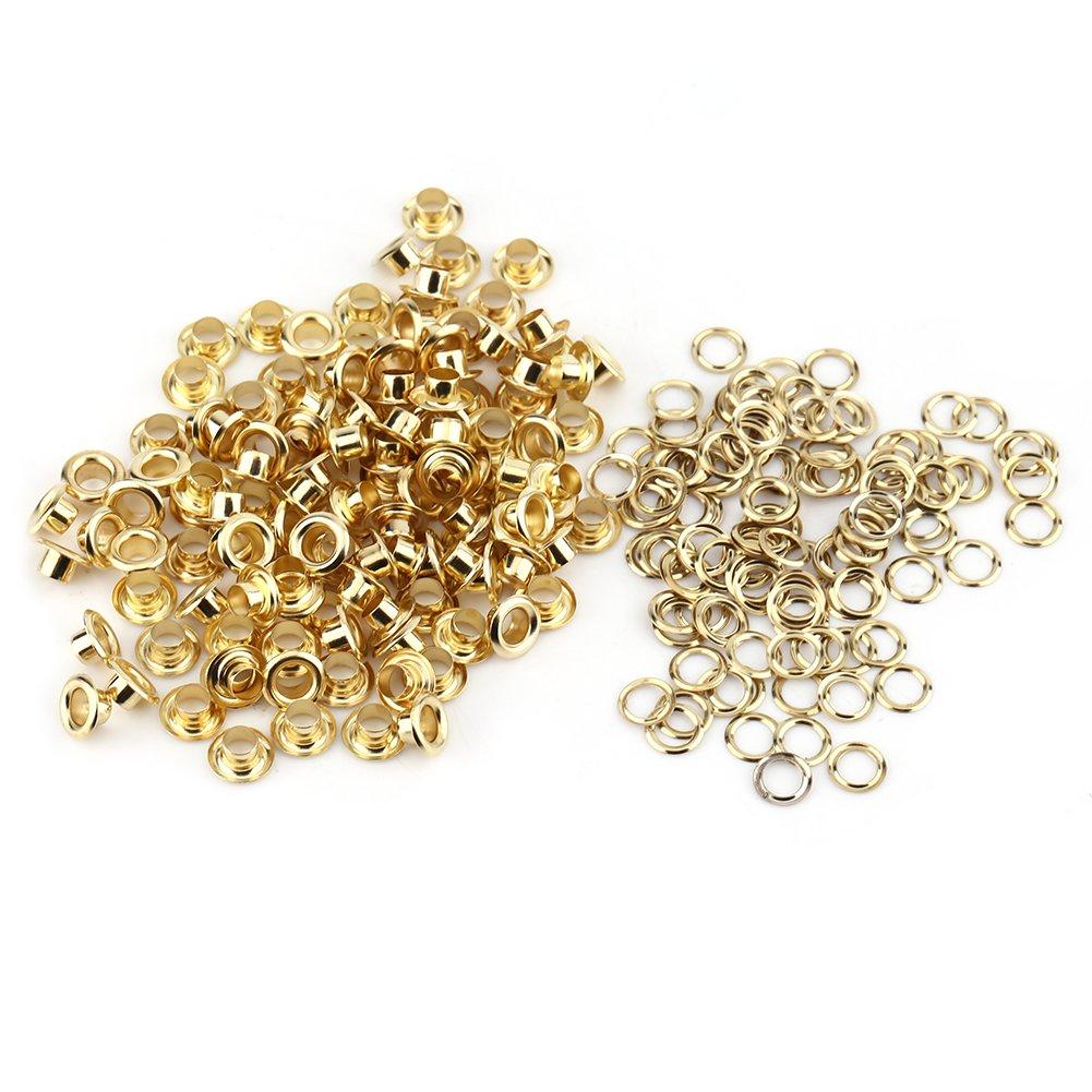 100Pcs Traverse Rivets Oeillets Creux PCB Circuit Board Antique Brass Eyelet Grommets Kit Avec Rondelles 5MM (Gold) Walfront