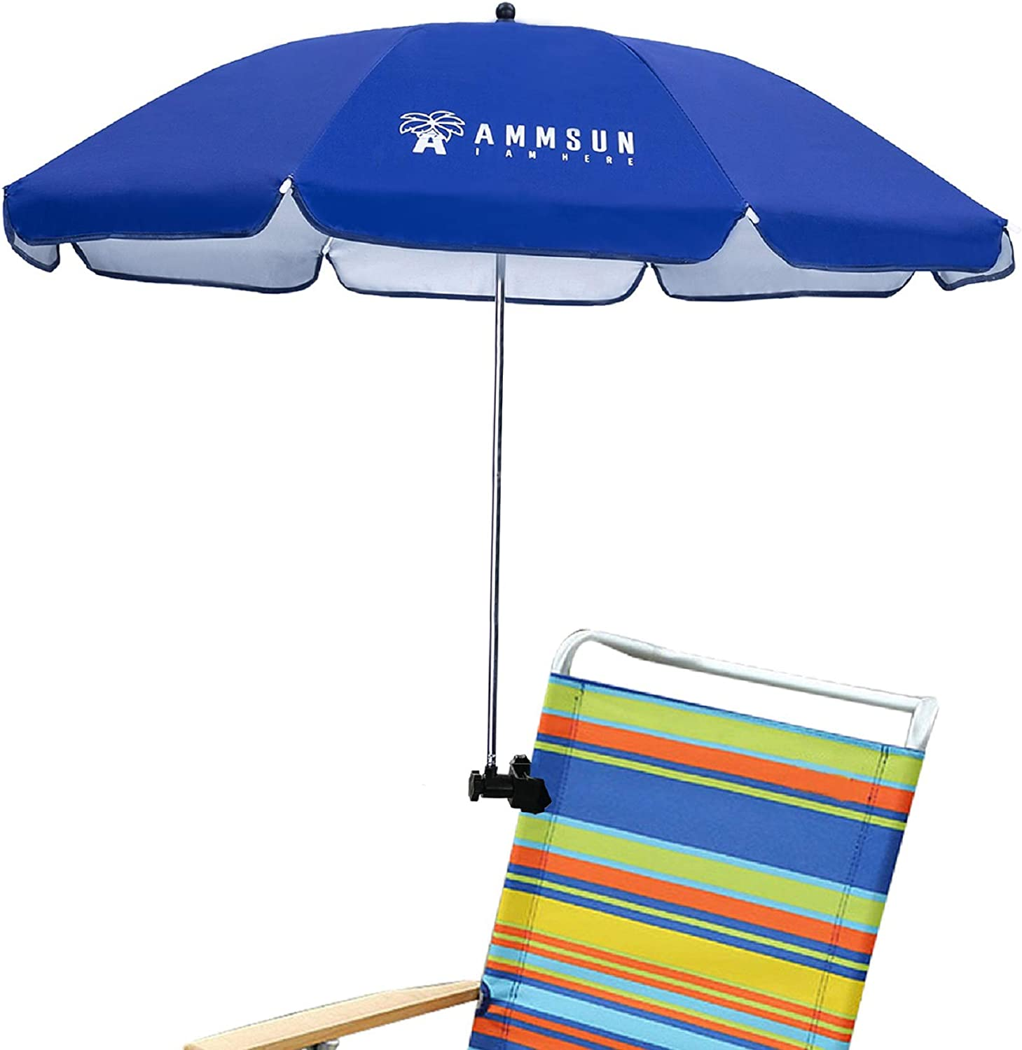 AMMSUN Beach Chair Umbrella with Adjustable Clamp 43 inches UPF 50+, Portable Clamp on Patio Chair, Beach Chair, Stroller, Sport chair, Wheelchair, and Wagon (Blue)